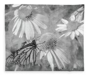Monarch Butterfly In Black And White Fleece Blanket