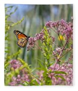 Monarch Butterfly In Joe Pye Weed Fleece Blanket