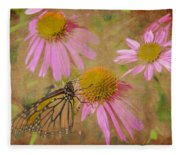 Monarch Butterfly In Pink Fleece Blanket