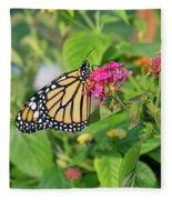 Monarch Butterfly On A Flower  Fleece Blanket