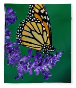 Monarch Butterfly On Flower Blossom Fleece Blanket