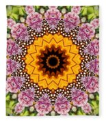 Monarch Butterfly On Milkweed Kaleidoscope Fleece Blanket