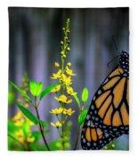 Monarch Butterfly Poised On Green Stem Among Yellow Flowers Fleece Blanket