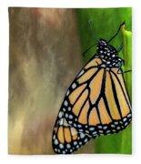 Monarch Butterfly Poised On Green Stem Fleece Blanket