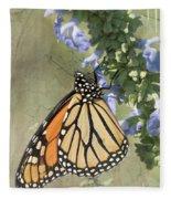 Monarch Butterfly Textured Background Fleece Blanket