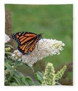 Monarch On A Butterfly Bush Fleece Blanket