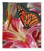Monarch On A Stargazer Lily Fleece Blanket