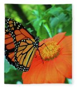 Monarch On Mexican Sunflower Fleece Blanket
