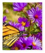 Monarch On Mt. Washington Fleece Blanket