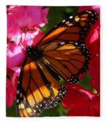 Monarch On Summer Geraniums Fleece Blanket