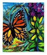 Monarch With Milkweed Fleece Blanket