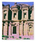 Monastery At Petra Fleece Blanket