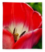 Monet Garden Red Tulip Fleece Blanket