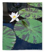 Monet Lilies White  Fleece Blanket