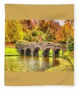 Monetcalia Catus 1 No. 9 - Monet Decides To Paint The Arched Bridge At Stourhead. L A S Fleece Blanket