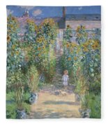 Monet's Garden At Vetheuil Fleece Blanket