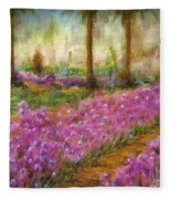Monet's Garden In Cannes Fleece Blanket