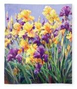 Monet's Iris Garden Fleece Blanket