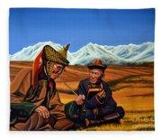 Mongolia Land Of The Eternal Blue Sky Fleece Blanket