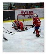 Mongolia Team Players Defend Goal Vs Malaysia In Ice Hockey Match In Rink Bangkok Thailand Fleece Blanket