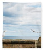 Monitored Seagull Take-off Fleece Blanket