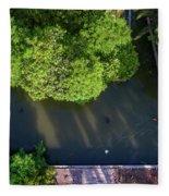 Monk Rowing Boat Along Floating Market Aerial View Fleece Blanket by Pradeep Raja PRINTS
