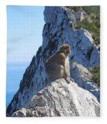 Monkey In Gibraltar Fleece Blanket