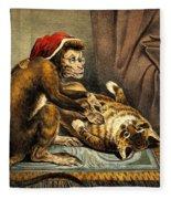 Monkey Physician Examining Cat For Fleas Fleece Blanket