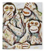 Monkey See Monkey Do Fragmented Fleece Blanket