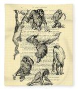 Monkeys Black And White Illustration Fleece Blanket