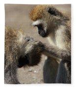 Monkeys Grooming Fleece Blanket