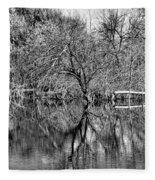 Monochrome Autumn Reflections Fleece Blanket