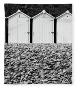 Monochrome Beach Huts Fleece Blanket