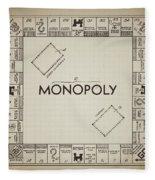 Monopoly Board Patent Vintage Fleece Blanket