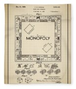 Monopoly Patent 1935 Vintage Border Fleece Blanket