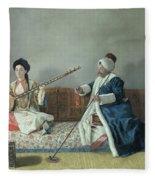 Monsieur Levett And Mademoiselle Helene Glavany In Turkish Costumes Fleece Blanket