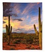 Monsoon Desert Sunset  Fleece Blanket