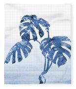 Monstera Leaf-blue Fleece Blanket
