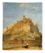 Mont St Michel From The Sands By David Roberts Fleece Blanket
