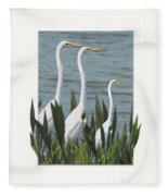 Montage With 3 Great White Egrets Fleece Blanket