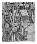 Montana Old Wagon Wheels Monochrome Fleece Blanket