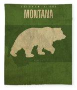 Montana State Facts Minimalist Movie Poster Art Fleece Blanket