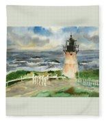 Montara Lighthouse, Plein Air Fleece Blanket