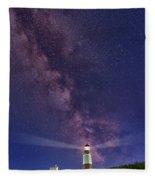 Montauk Point And The Milky Way Fleece Blanket
