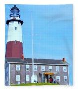 Montauk Point Light  Fleece Blanket