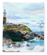 Montauk Point Light Fleece Blanket