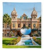 Monte Carlo Casino And Sky Mirror In Monaco Fleece Blanket