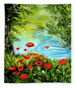 Monte Rio Poppies Fleece Blanket