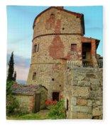 Montefollonico Stone Tower And Fortress Fleece Blanket
