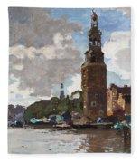 'montelbaanstoren' In Amsterdam By Cornelis Vreedenburgh Dutch 1880-1946 Fleece Blanket